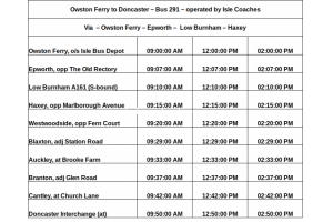 Owston Ferry to Doncaster Bus Time Table